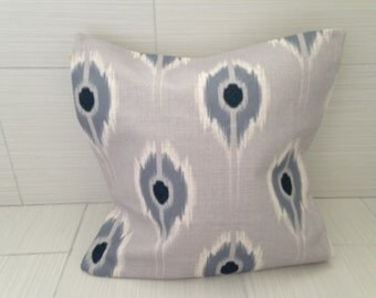 Gray Ikat Modern Pillow Cover  *ON SALE