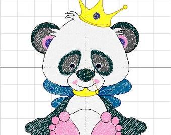 10 panda embroidery set