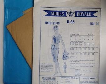 Modes Royale Pattern # D-95,  Misses Sheath dress, sleeveless, Size 14