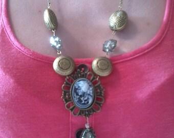 Antique Bronze Cameo Beaded Necklace
