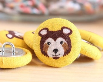 Fabric Covered Buttons - Bear on Yellow - 1 Medium Fabric Buttons