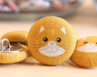 Fabric Covered Buttons - Cat on Rust - 6 Medium Fabric Buttons