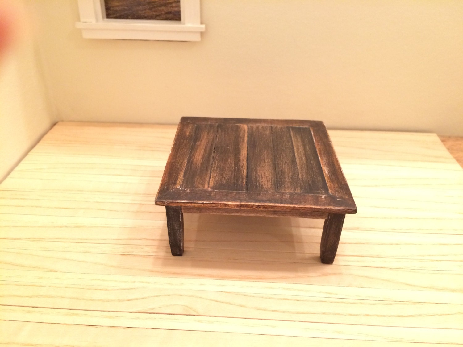 Dollhouse Miniature Square Rustic Coffee Table By Mockiesplace