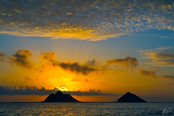 Na Mokulua Hawaii: Na Mokulua Sunrise Art Metal Print Hawaii Ocean Island