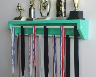 Trendy Display-Petite Version Aqua. medal holder, trophy holder, medals and trophies, gymnastics medals holder, running medals,karate medals