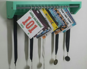 Trendy Running display for race bibs and medals-Aqua. race bibs holder, medals and bibs holder, running bibs display, medal holder, custom.