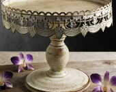 """Cake Stand Metal, Antique, French Style, Victorian Inspired, Stamped Metal, Pedestal Cake Stand 10"""" by Pepperberry Market"""