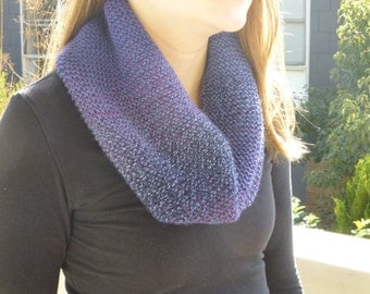 Hand Knitted Cowl, Puple and Blue Scarf, Gradient Scarf