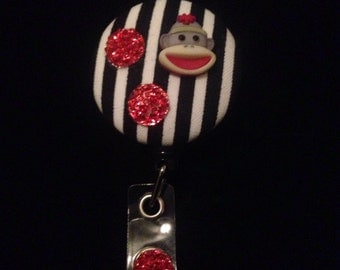 "Retractable Badge Holder/Badge Reel/Nurse Badge/ID Holder/ NURSE/Gift ""Sock Monkey"" on stripes"