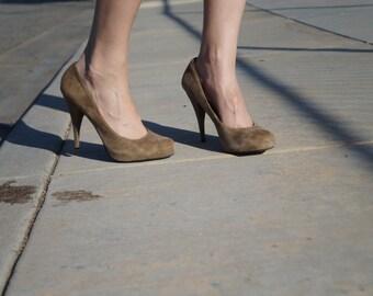 Grey suede stiletto pumps
