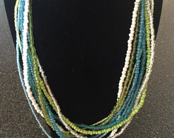 Green and Blue layered adjustable necklace