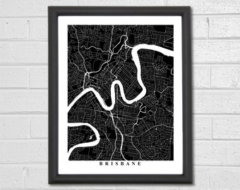 Brisbane Map Art - Map Print - Black and White - City Map Art - Brisbane Map - Brisbane - Australia - Wedding Gift - Engagement Gift