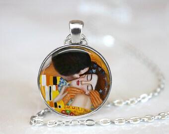 """Gustav Klimt """"The Kiss"""" Necklace, Gustav Klimt Jewelry"""