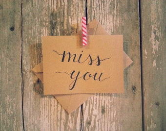 Hand-lettered Miss You Card