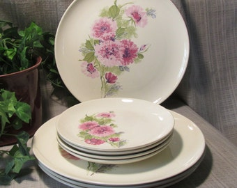 8 Harmony House Pink Mum pattern # 4578 Vintage, Mid Century, Dinner Plates, Replacement Plates,Oven & Craze Proof 4 Dinner, 4 Salad
