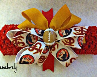 Florida State Baby girl Boutique Bow Crocheted Headband