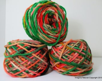 Limited Edition Handspun Hand dyed yarn Pure Bulky Chilean Wool Knitting Multicolour Araucania Chunky Skein Green Red Pink 100g 3.5oz