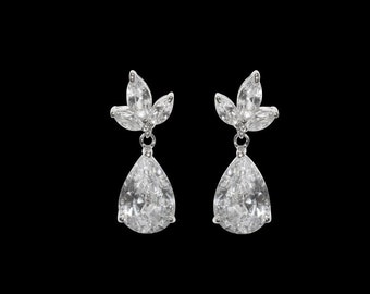 CZ Drop Earrings, Dangle Earrings, Crystal Drop Earrings, Bridal Earrings, Wedding Earrings, Cubic Zirconia Earrings,