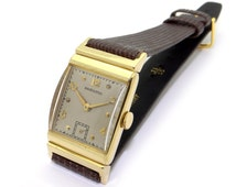Vintage Men's Hamilton 14k Yellow Gold Manual Wind 19 Jewels Dress Watch 982 With Leather Band Retro 1940s