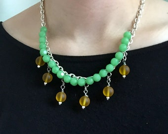 Handmade Statement Necklace Silver Chain and Green and Yellow Beads