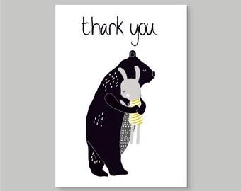 Bear & Rabbit Thank You Card