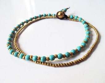 Anklets turquoise,Beadwork anklets,Brass anklets,Women anklets,Stone anklets,Turquoise anklets