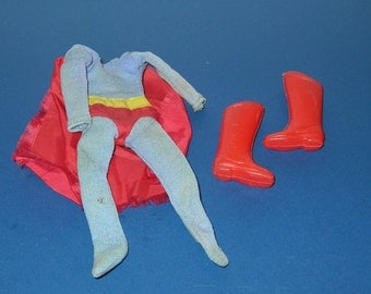 Vintage 1970s Mego Superman Figure Outfit and Boots