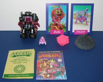 Vintage 1992 Snailiens Zug and Itchy Figures (mint and complete)