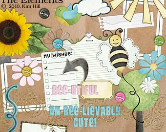 """Digital Scrapbook Elements - """"Happy to Bee Me"""" digital scrapbook elements for scrapbook layouts with bees and flowers in pink, blue and gold"""