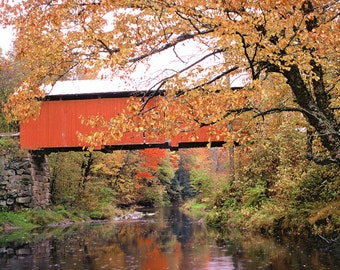"Covered bridge and Fall foliage, Vermont scenic, Vermont covered bridge, autumn scenic photo  Title: ""Autumn on the Dog River"""