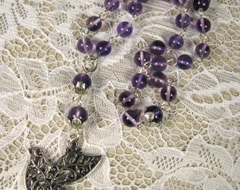 Prayer Beads-Amethyst-Hand Wired-Dove
