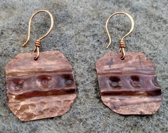 Dimpled Copper Earrings