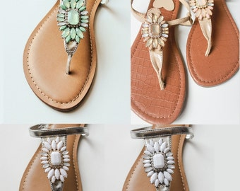 Elegant Shoes by Zee Sandals, Summer Sandals with Sparkling Jewels for Destination Beach Wedding (Style: ARMASTAS)