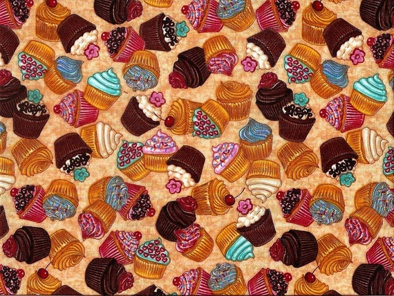 Dan Morris What's Cookin'?  100% cotton, brown back ground with teal, pink, blue, red and white cupcakes. ~53