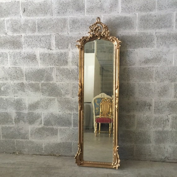 Antique French Louis Xvi Floor Mirror Standing Gold Paint