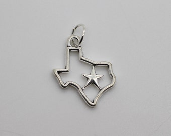TEXAS STATE CHARM - Silver Texas Star Charm Pendant State Jewelry Lone Star