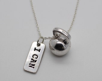 I CAN & KETTLEBELL NECKLACE - Crossfit Jewelry Fitness Charm Lifting Weights