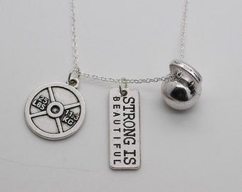 KETTLEBELL NECKLACE - Exercise Charm Pendant Weightlifting Crossfit Jewelry Gym