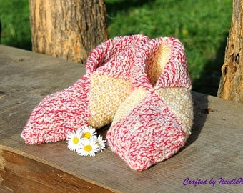 Knit women slippers, Knitted slippers, Hand knit slippers, Womens slippers, Knit slipper socks, Multi Color Slippers, Knit slippers