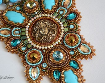 Beads embroidery necklace, Bead embroidery, Bead jewelry, Handmade jewelry, Unique jewelry, Fashion jewelry - the undine