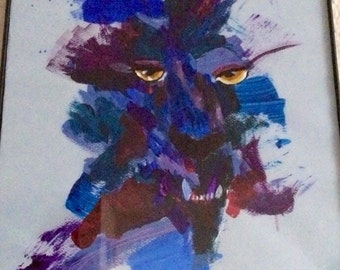 Abstract wolf acrylic painting