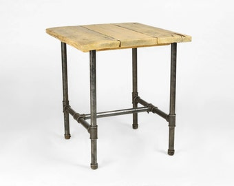 Square dining table handmade from  1 inch gas pipe and reclaimed wood