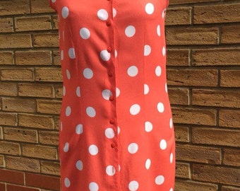 Vintage retro pin up style Coral red polka dot button up shift dress 80s size 8