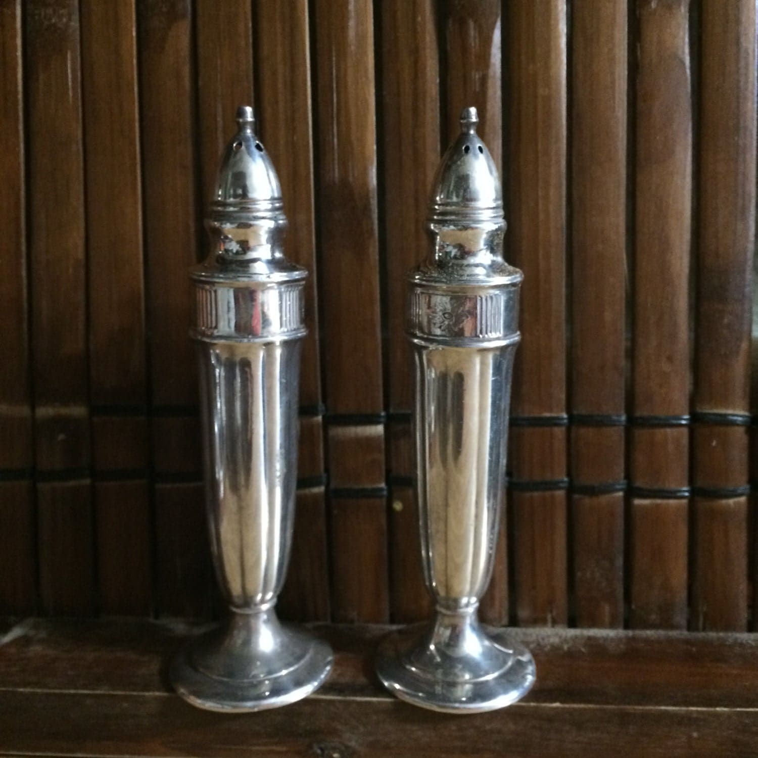 Beautiful Vintage Set Of Silver Salt And Pepper Shakers