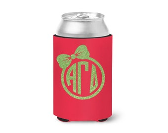 AGD Alpha Gamma Delta // Bow Monogram Can Hugger // Choose Your Colors // Sorority Hugger