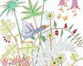 Garden art print, pen and...