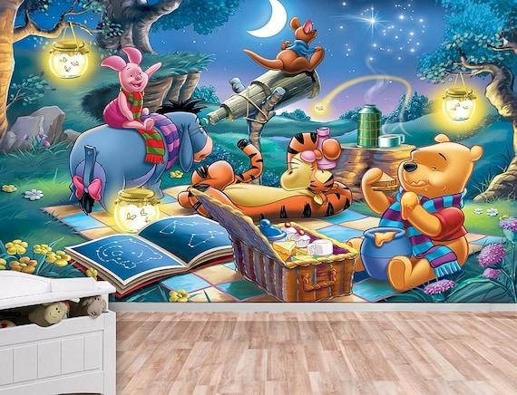 winnie the pooh stars wall mural wallpaper wall d cor. Black Bedroom Furniture Sets. Home Design Ideas