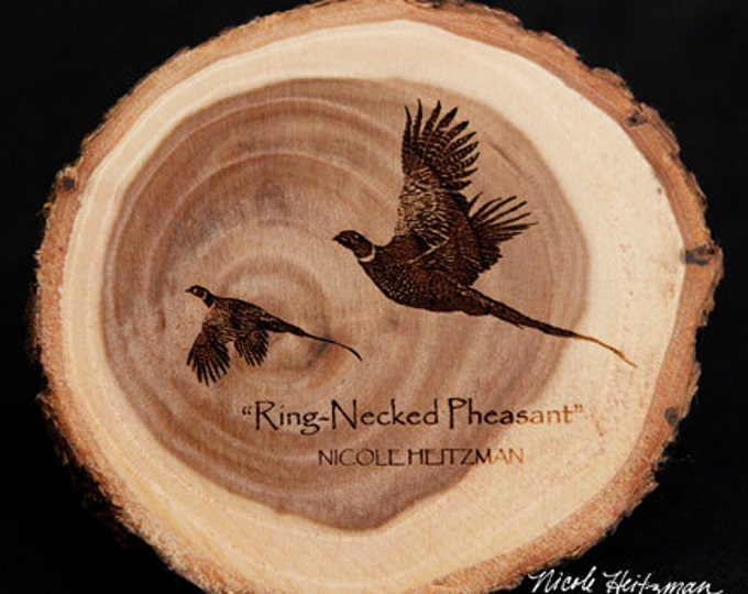 Christmas Father's Day Gift for men Pheasant hunting Art Pheasant Coaster Lodge decor Cabin Man Cave Decor Wood Coasters by Nicole Heitzman