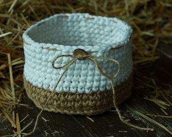 SALE 30% OFF, Crocheted  Jute and Cotton, Crochet Storage Basket, Natural Jute Basket, Crochet Bowl, Storage Container,  Room Decoration