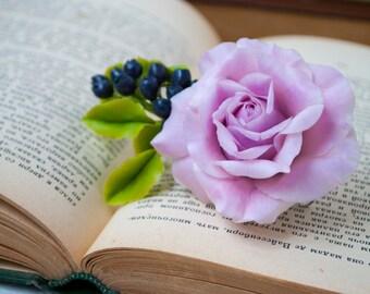 Rose hair clip Wedding hair clips Purple flowers hair brooch Rose jewelry Wedding hair flowers Blueberry Hair barrettes Wedding accessories